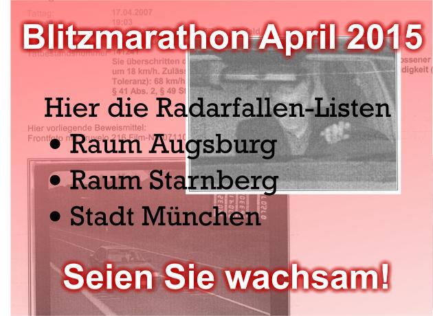 Blitzmarathon-Standorte-Listen Augsburg Starnberg München April 2015