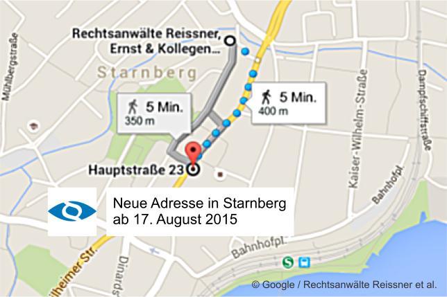 Neue Adresse der Rechtsanwälte Reissner, Ernst & Kollegen in Starnberg ab 17.08.15: Hauptstraße 23