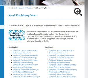 Musterseite Anwalt-Empfehlung Bayern / Ausschnitt